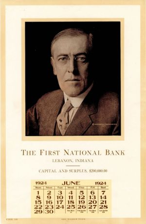 Ad Calendar for First National Bank with portrait of Woodrow Wilson