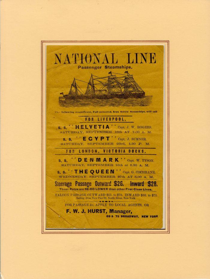 Advertisement for National Line Passenger Steamships