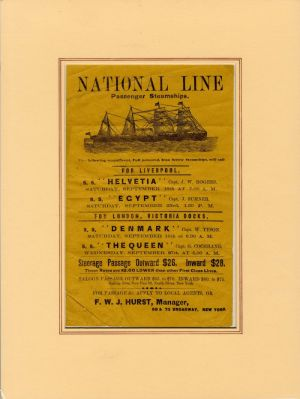 Advertisement for National Line Passenger Steamships