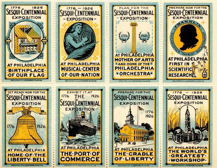 Sesqui-Centennial Exposition Stamps - Americana - Block of 8 Stamps