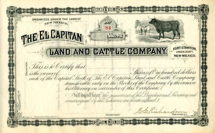 El Capitan Land and Cattle Company - Stock Certificate