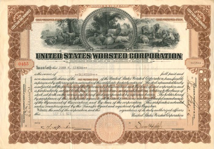 United States Worsted Corporation - Stock Certificate