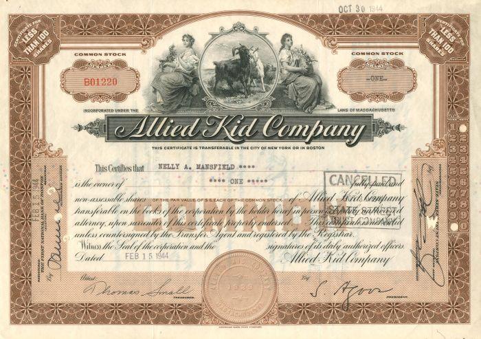 Allied Kid Company - Stock Certificate