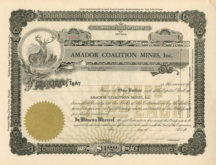 Amador Coalition Mines, Inc. - Stock Certificate