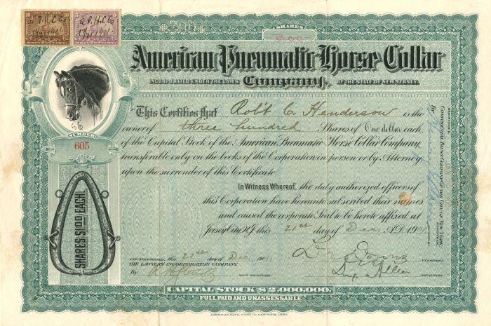 American Pneumatic Horse Collar Company - Stock Certificate