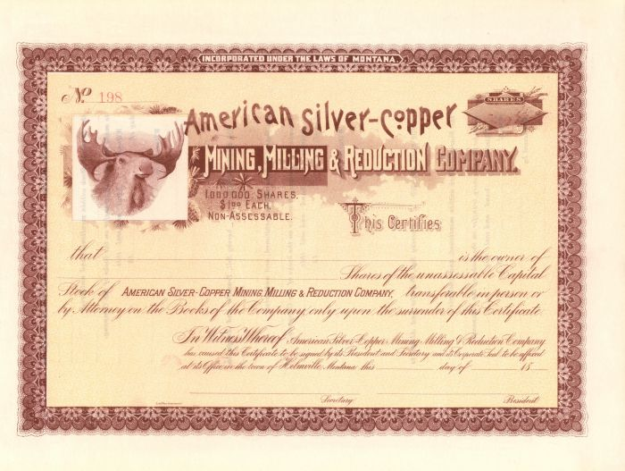 American Silver-Copper Mining, Milling and Reduction Company - Stock Certificate