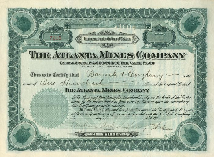 Atlanta Mines Company - Stock Certificate