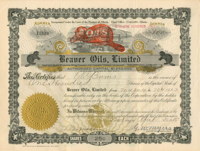 Beaver Oils, Limited - Stock Certificate