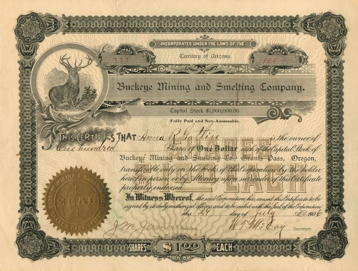 Buckeye Mining and Smelting Company - Stock Certificate