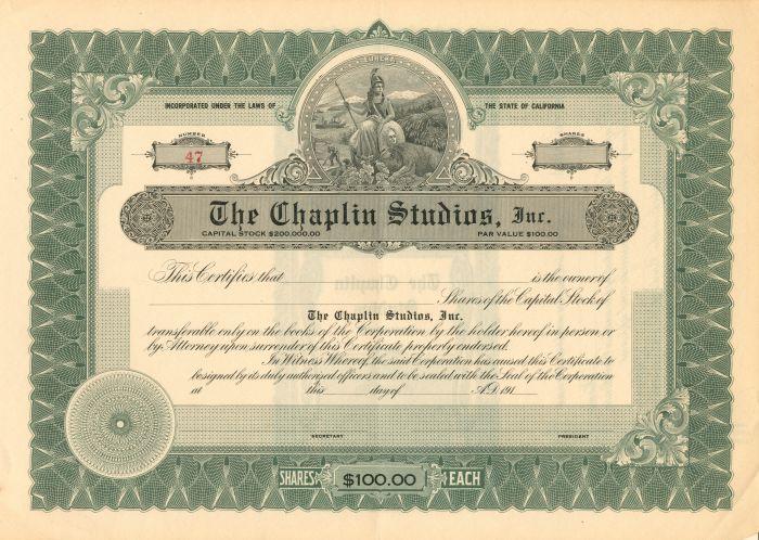 Chaplin Studio, Inc. - Stock Certificate