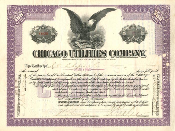 Chicago Utilities Company - Stock Certificate