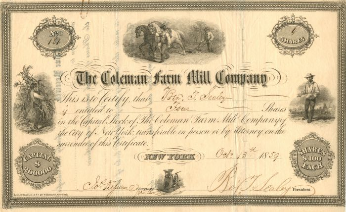 Coleman Farm Mill Company - Stock Certificate