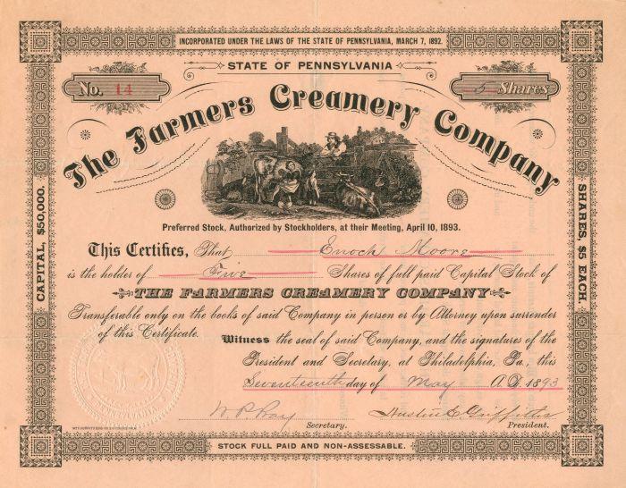 Farmers Creamery Company - Stock Certificate