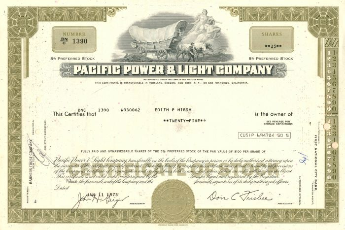 Pacific Power and Light Company - Stock Certificate