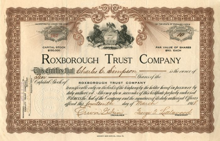 Roxborough Trust Company - Stock Certificate