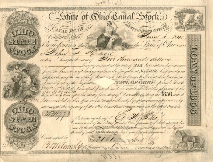 State of Ohio Canal Stock - Stock Certificate