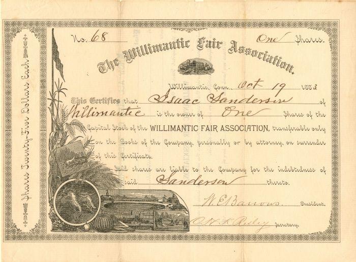Willimantic Fair Association - Stock Certificate