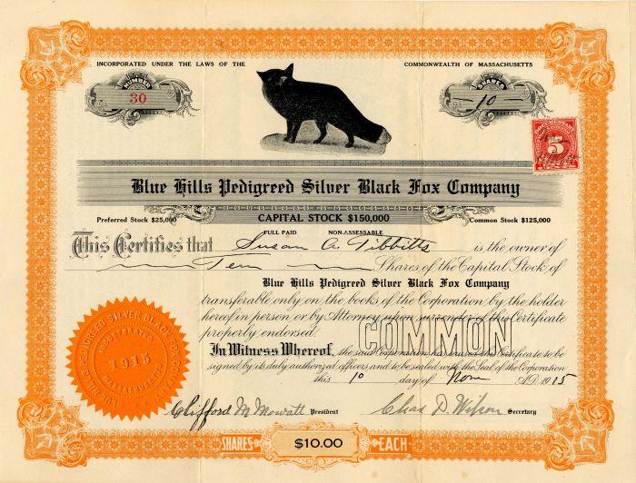 Blue Hills Pedigreed Silver Black Fox Company