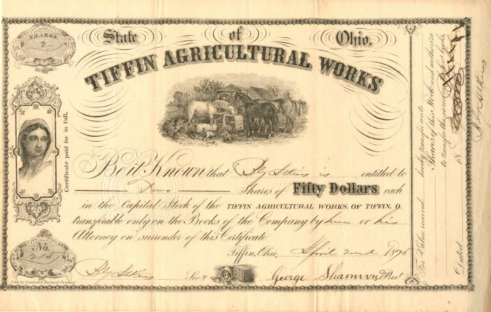 Tiffin Agricultural Works - Stock Certificate