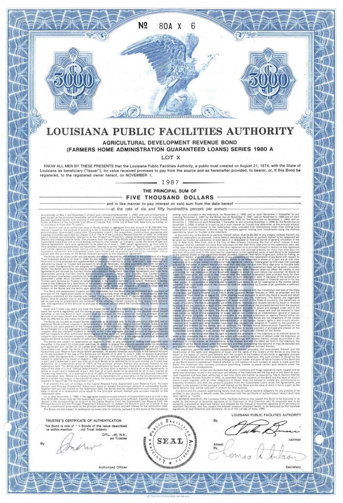 Louisiana Public Facilities Authority - $5,000 Bond