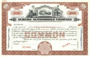 Auburn Automobile Company - Brown Specimen Stock Certificate - SOLD