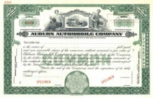 Auburn Automobile Company - Green Specimen Stock Certificate - SOLD