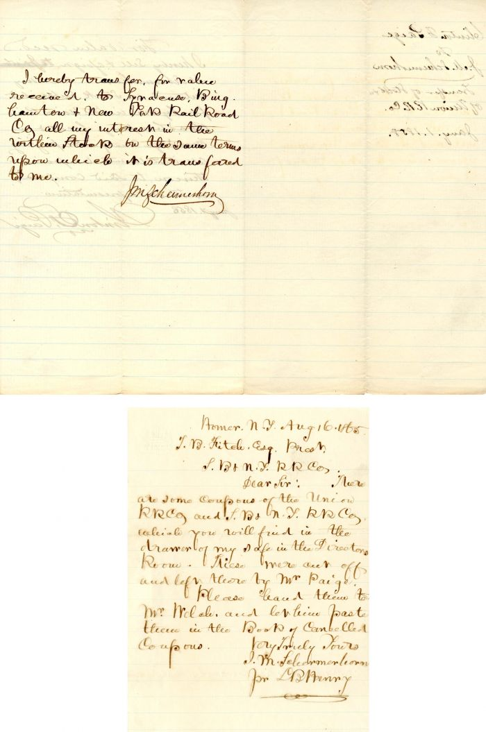 Signed note by John M. Schermerhorn
