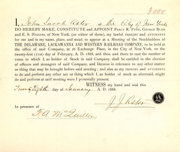 J.J. Astor signed Delaware, Lackawanna and Western Railroad Company Appointment - SOLD