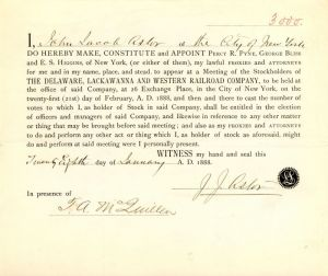 J.J. Astor signed Delaware, Lackawanna and Western Railroad Company Appointment