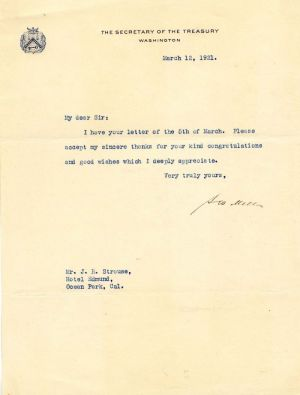 Letter signed by A.W. Mellon