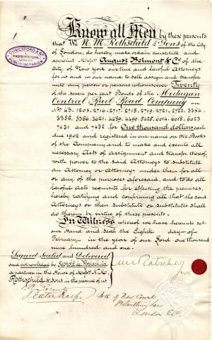 Document signed by N.M. Rothschild Jr.