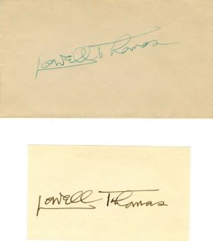 Card and Cover signed by Lowell Thomas