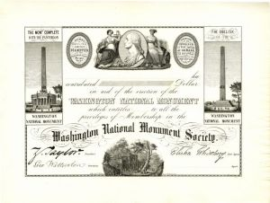 Washington National Monument Society Membership Certificate with Facimile Signature of Zachary Taylor