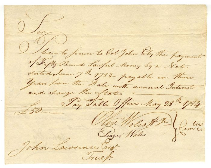"""""""Connecticut Currency"""" - Revolutionary War Pay Order signed by Oliver Wolcott, Jr."""
