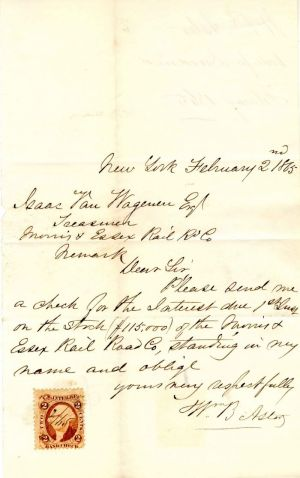 Autographed Letter signed by Wm. B. Astor - SOLD