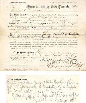 Stock Transfer signed by J.P. Morgan for J.S. Morgan & Drexel, Morgan Co.