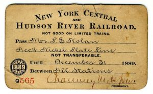 New York Central and Hudson River Railroad Company Pass signed by Chauncey Depew