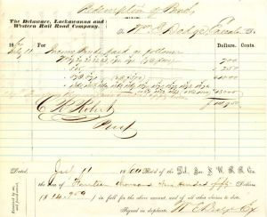 Delaware, Lackawanna and Western Rail Road Company signed by Wm. E. Dodge - Redemption Bond