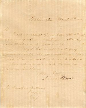 Autographed Letter signed by Millard Fillmore - SOLD