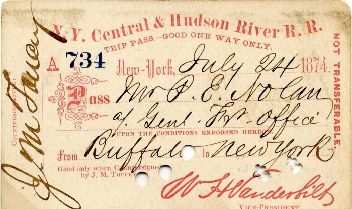 N. Y. Central & Hudson River R. R. Trip Pass with printed signature of Wm. H. Vanderbilt