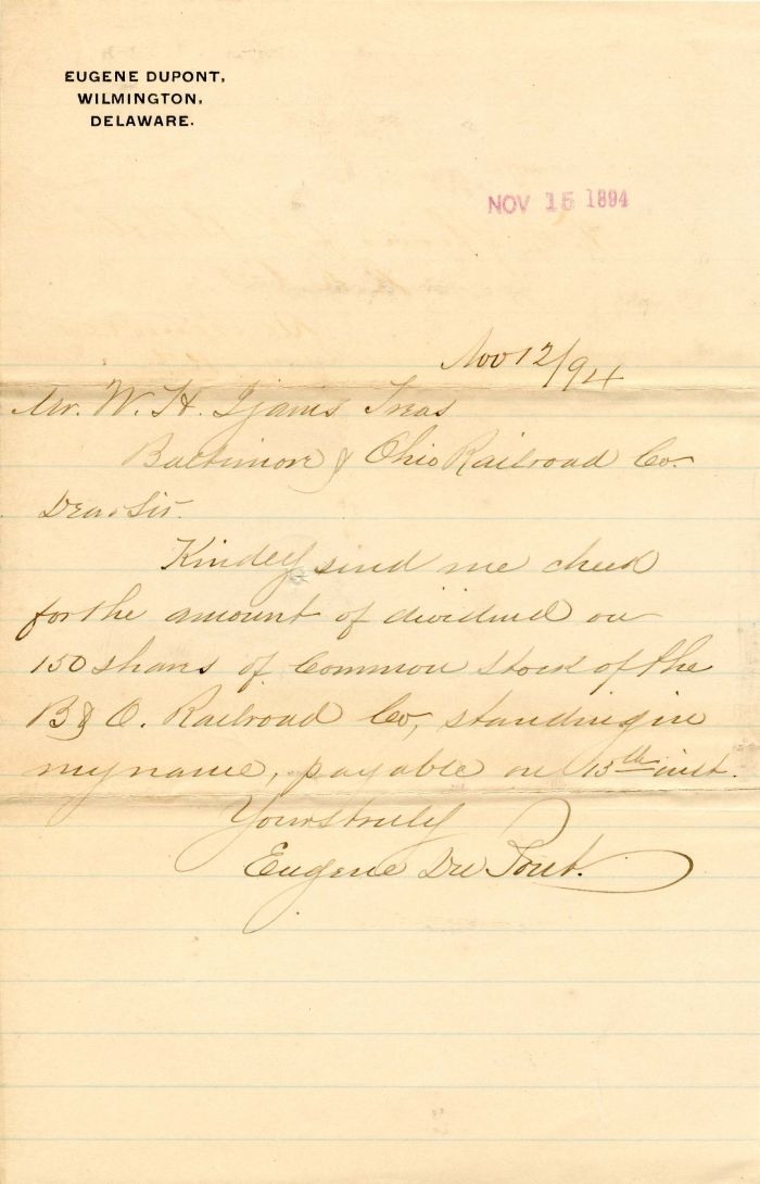 Autographed Letter signed by Eugene duPont