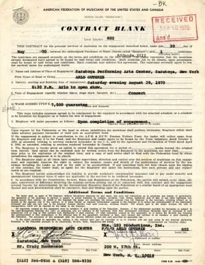 Arlo Guthrie signed Contract - SOLD