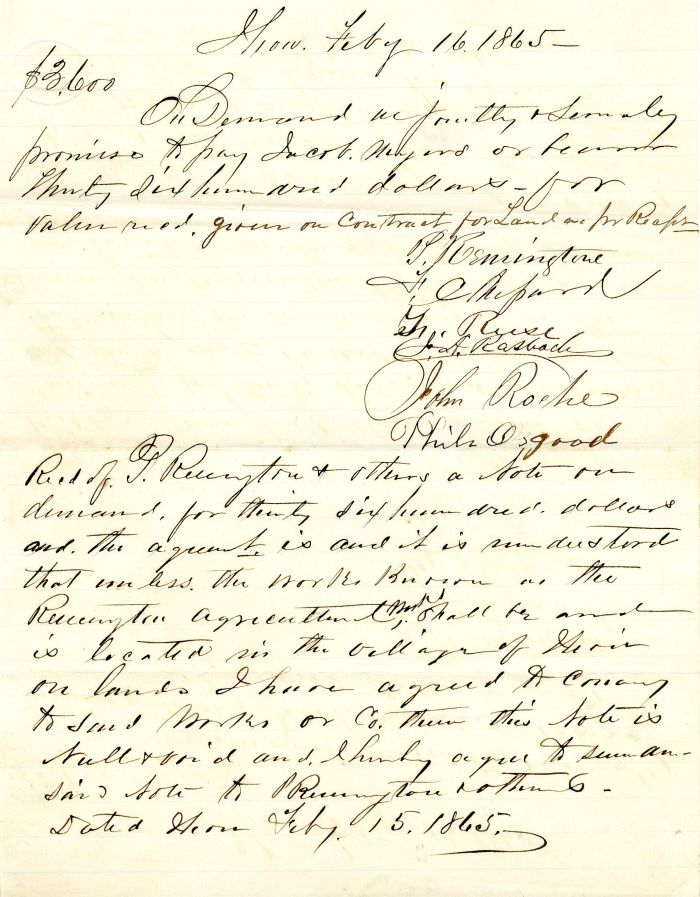 Autographed Letter signed by Philo Remington - SOLD