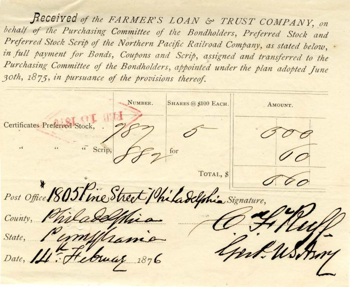 Stock Receipt signed by General C.F. Ruff