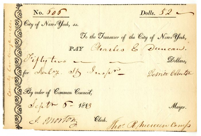 Dewitt Clinton signed Pay Order