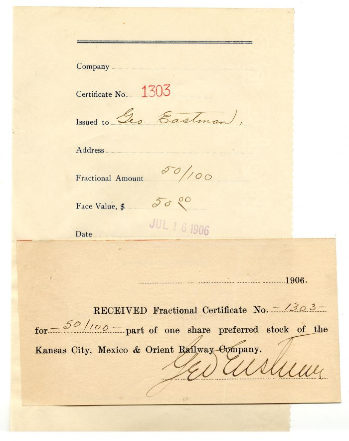 George Eastman signed Stub - SOLD