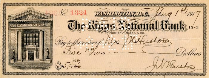 J.N. Huston signed Check