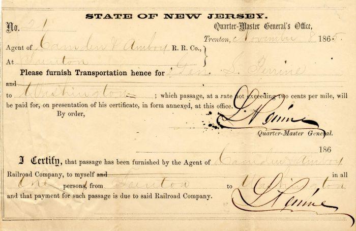 Transportation Order signed twice by Gen'l. L. Perrine