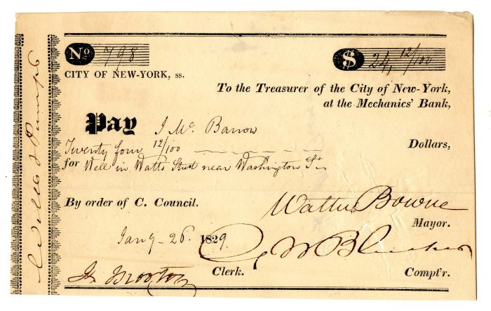 City of New-York, at the Mechanics' Bank signed by Walter Bowne -  Autographed Check