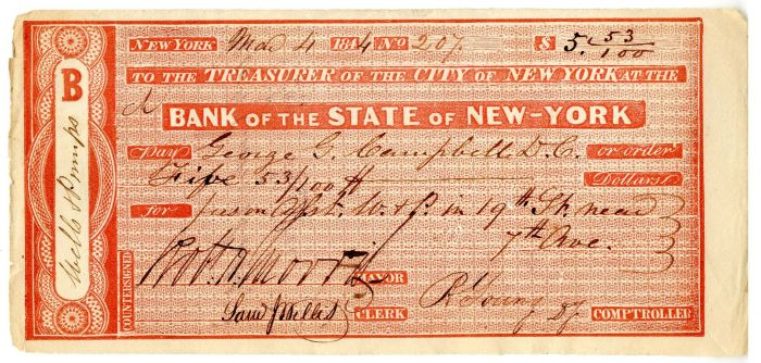 Bank of the State of New-York signed by Robert H. Morris -  Autographed Check